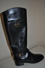$495 Tory Burch ELOISE Black Leather Knee High Tall Riding Boot 9.5 Boots shoe