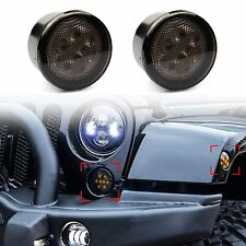 Smoke Lens Yellow LED Front Replacement Turn Signal Light Assembly For Jeep JK