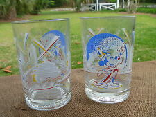 2 Walt Disney EPCOT Remember The Magic Glass Tumber w Wizard Mickey Mouse
