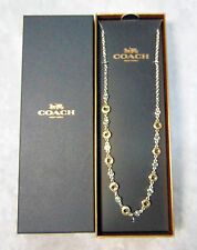 "NEW Coach CIRCLE STATION NECKLACE 19"" Silver & Yellow Gold w/ Swarovski Crystals"