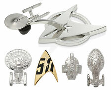 Star Trek Official 50th Anniversary Pin Set Starfleet Enterprise Defiant Voyager