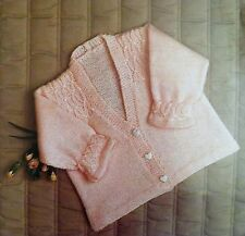 "Baby Clothes Matinee Coat Knitting Pattern Vintage 4 Ply/DK Smock 19-23""   E8681"