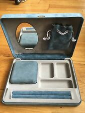 Cute Blue Suede Jewellery Box Cabinet With Inside Earring Boxes And Ring Spaces