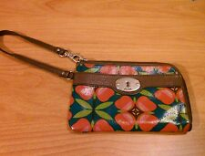 FOSSIL KEY-PER Wallet Wristlet  Leather Trim Good Condition!!!