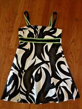 KIM ROGERS 4 J Crew WOMENS SUNDRESS CLASSY Lime & Black Sexy LINED DRESS SIZE 14