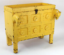Antique Western India Small Dowry Chest, Mango Yellow Paint, Carved Horse Heads