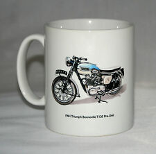 Motorbike Mug. 1961 Triumph Bonneville T120 & Triumph tank badge illustrations.