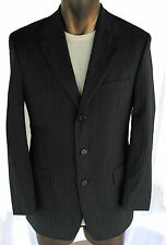 HUGO BOSS DA VINCI BLACK + LIGHT BLUE STRIPES 2 BUTN SUIT 38R 32X29 MINT!!