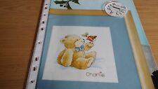 CROSS STITCH CHART  CHARLIE BEAR WITH ROBIN BIRD CHART CHRISTMAS SCENE