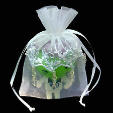 """4"""" X 6"""" EMBROIDERED LACE BEADED ORGANZA WEDDING FAVOR BAG-24/PK"""