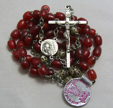 "† OLD STOCK VINTAGE ""REPUBLIC IRELAND"" CELTIC IRISH HORN DYED RED ROSARY NWT †"