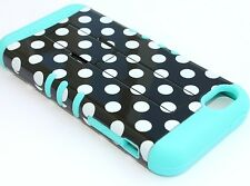 iPhone 5C - HARD&SOFT RUBBER HYBRID HIGH IMPACT CASE MINT BLUE BLACK POLKA DOTS