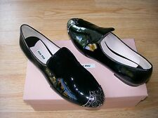 Miu Miu by Prada Shoes Loafers Flats Metal Cap Toe Black Patent 40 US 10 NEW