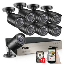 ZOSI 8CH 1080P Lite CCTV DVR 1500TVL 720P Outdoor Home Security Camera System 1T