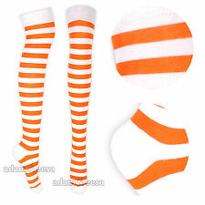 Ladies Teens Striped Over Knee Socks Cotton UK 4-6.5 Birthday Gift Fancy Dress