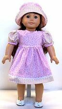 "PINK PRINT WITH HAT FOR AMERICAN GIRL AND OTHER 18"" DOLLS"