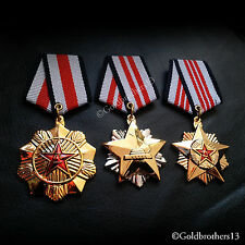 3x Set Meritorious Service Medal Military All Class Gold Plated China, Replica