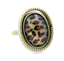 Vintage punk style rotatable double sided leopard animal print black resin ring