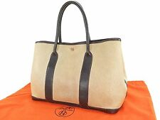 Authentic HERMES Toile H Beige and Brown Garden Party Tote Bag Purse #24093