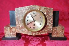 """Art Deco 1930's Red Black Marble Mantel Clock Winding with Key Signed YGL/31 14"""""""
