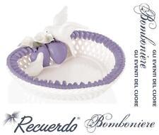 BOMBONIERA Made in Italy CIOTOLA a CUORE PORCELLANA LILLA-BIANCA COLOMBE CALLE