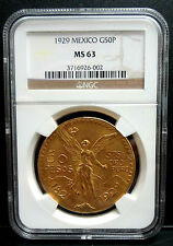 1929 MEXICO 50 PESOS GOLD COIN NGS MS63
