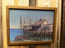 Vintage Oil Painting Nautical Scene Fishing Boat & Shanty On Dock-NICE