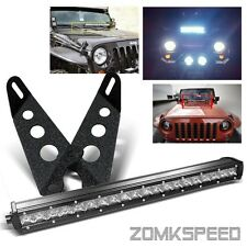 "07-15 Wrangler JK Hood Mounting Bracket/20"" 100W 10 CREE LED Light Bar + Switch"