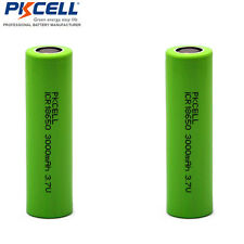 2x 18650 Li-ion 3000mAh 3.7V Vape & Torch Rechargeable Battery Flat Top PKCELL