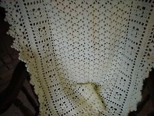 """SWEET DREAMS Crocheted Baby Afghan Antique White Handmade 32"""" X 38"""" NEW"""