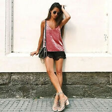 Fashion Womens Vest Sleeveless Lace Velvet Shirt Blouse Casual Tank Tops Pink L