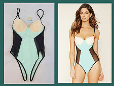 NWT Forever 21 S Small One-Piece Swimsuit Mesh-Side Colorblock Cut Out Sexy New