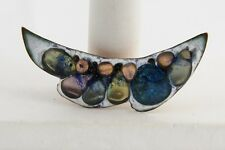 VINTAGE 50's Jewelry EAMES ERA Copper Enamel SHELDON Signed FUSED GLASS BROOCH