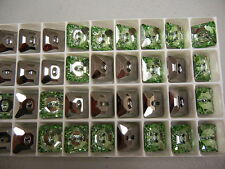 12 swarovski square crystal 2-hole sew on buttons,14mm chrysolite/M-foiled #3017