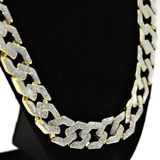 "Sand Blast Cuban Chain Gold Tone 15MM Wide Hip Hop Iced-Out Bling 30"" Necklace"