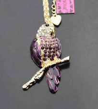 H579Z     Betsey Johnson Crystal Enamel Parrot Pendant Sweater Chain Necklace