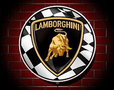 LAMBORGHINI LED 600mm ILLUMINATED WALL LIGHT CAR BADGE GARAGE SIGN LOGO MAN CAVE