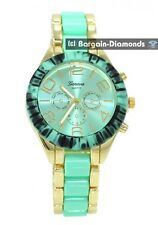 ladies gold tone aqua party dress watch aqua metal dial link bracelet