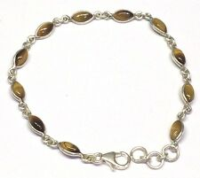 Handmade 925 Sterling Silver Bracelet With Marquise Pip Shape Tigers Eye Stones