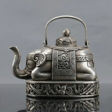 Chinese Silver Copper Handwork Elephant Teapot W Xuande Mark D280