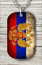 "FLAG RUSSIA DOG TAG PENDANT and ""FREE CHAIN"" -sax5Z"