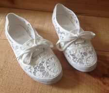 New! White Crochet Mesh Lace Up Pumps Summer Shoes UK4