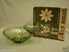 "Vintage Hazelware ""Lyric"" Chip & Dip Bowl Set Avocado Green Depression Glass"