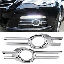 Pair Chrome Front Bumper Fog Light Cover Grille Trim For VW PASSAT CC 2009-2011