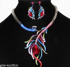 Pretty as a Peacock Drop Feather Multi-Color Rhinestone Necklace & Earrings Set