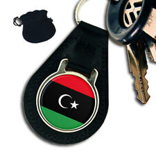 LIBYA LIBYAN FLAG  LEATHER KEYRING / KEYFOB