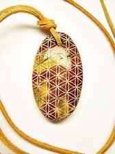 """MOOKAITE Flower of Life PENDANT 1,57"""" - Sacred Geometry Jasper OM Sri Yantra"""