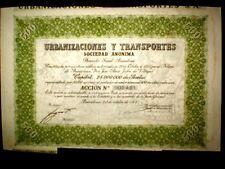 Urbanizaciones y Transportes,Share certificate 1944 Spain