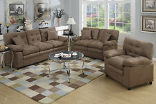 Microfiber Living Room Furniture 3P Sofa Set Sofa Loveseat & Chair In Dark Brown