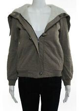 MARC JACOBS Brown White Cotton Long Sleeve Faux Shearling Lined Jacket Sz XS